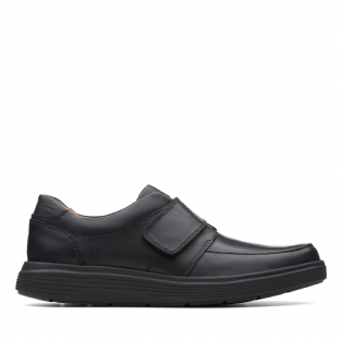 Clarks Mens Un Abode Strap Black Leather Shoes
